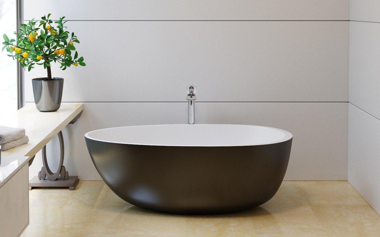 Vasca Da Bagno Pietra : Spoon m black la vasca da bagno freestanding di aquatica in