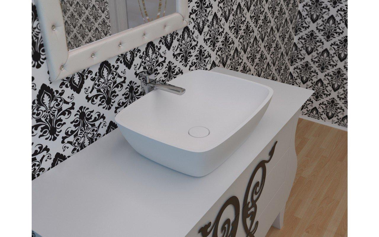 Arabella-Wht™ Lavabo bianco in pietra di Aquatica picture № 0