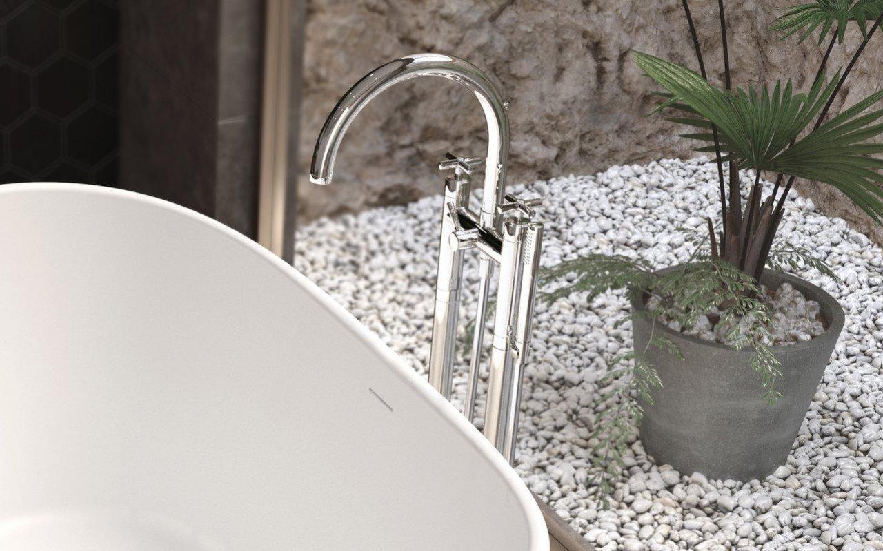Aquatica Celine Riempitore per vasca montato a terra (SKU-108) – Cromato picture № 0