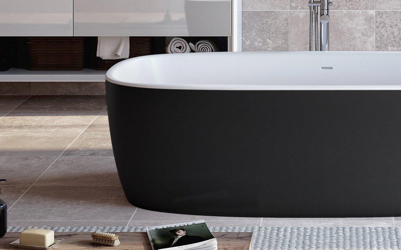 Vasca Da Bagno Enorme coletta-blck-wht la vasca da bagno freestanding di aquatica in pietra  aquatex™ – in nero e bianco