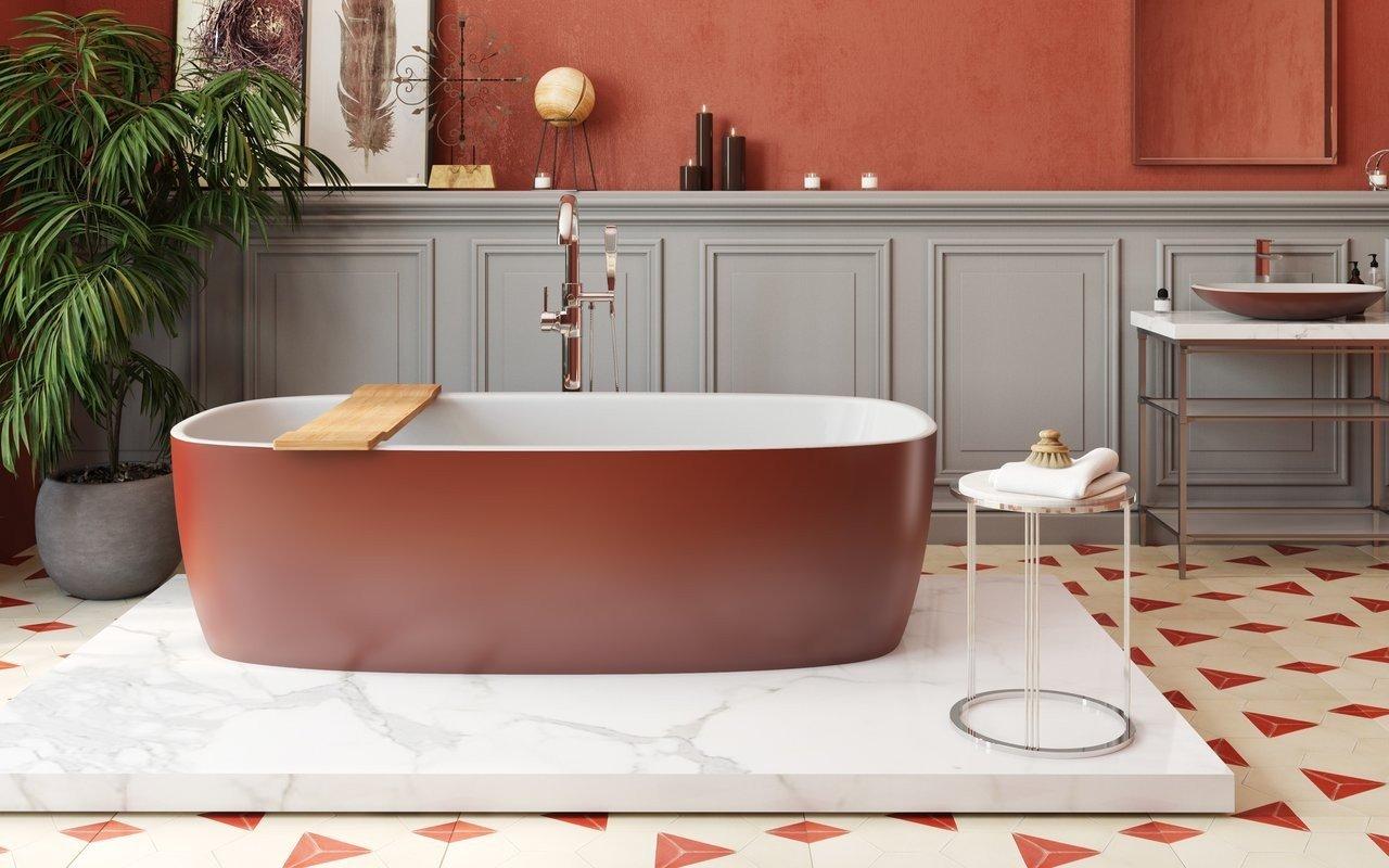 Vasca Da Bagno Rossa : Aquatica coletta™ oxide red wht vasca da bagno freestanding in