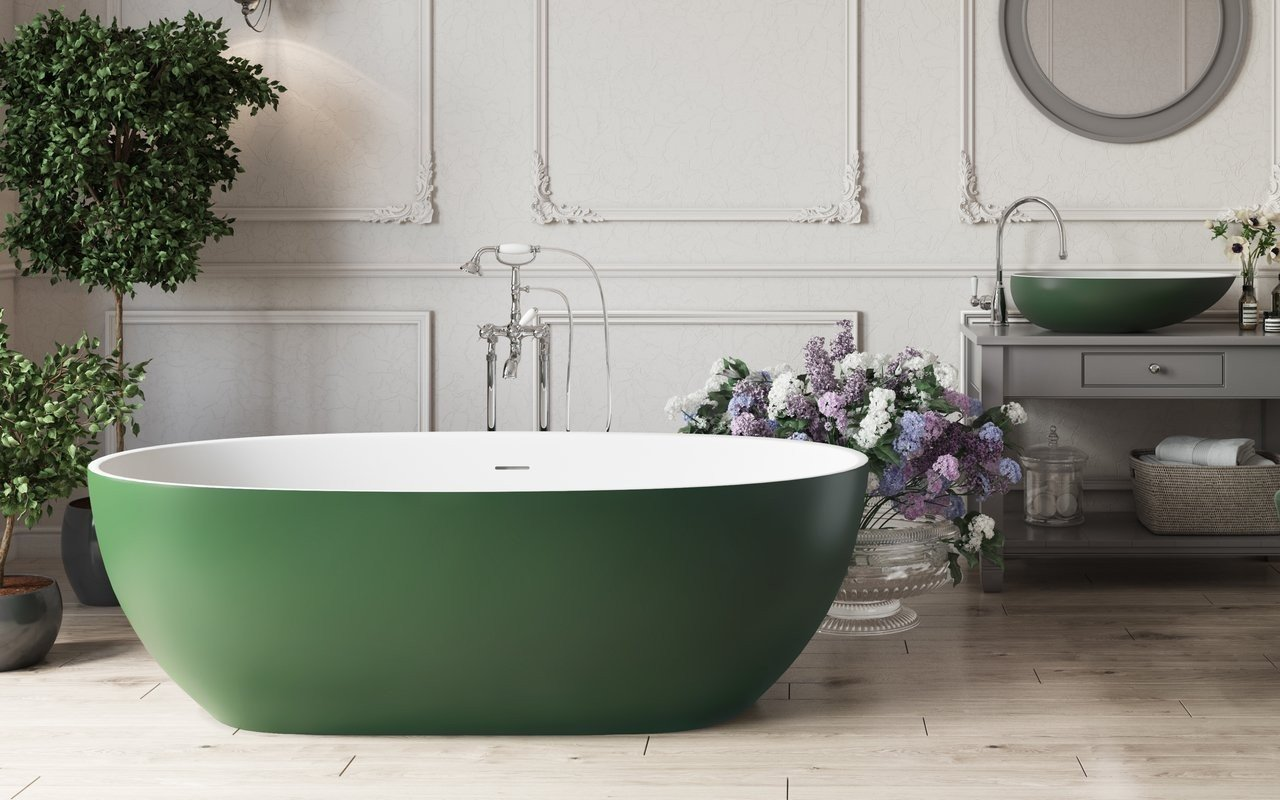 Corelia™ Vasca da Bagno Freestanding di Aquatica, Bianco-Verde Muschio in Solid Surface picture № 0