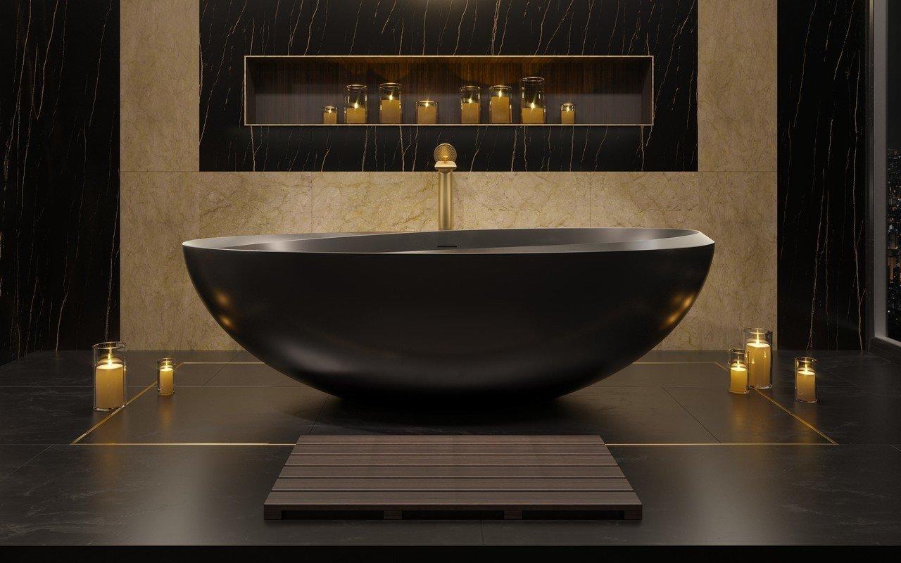 Illusion-Blck, la vasca da bagno freestanding di Aquatica in pietra NeroX™, finitura nero picture № 0