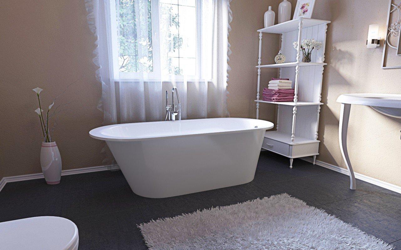 Inflection a f wht la vasca da bagno freestanding - Vasca da bagno rivestita in pietra ...