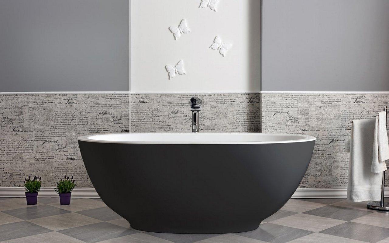 Karolina-Blck-Wht-2, la vasca freestanding di Aquatica in pietra – in Nero e Bianco picture № 0
