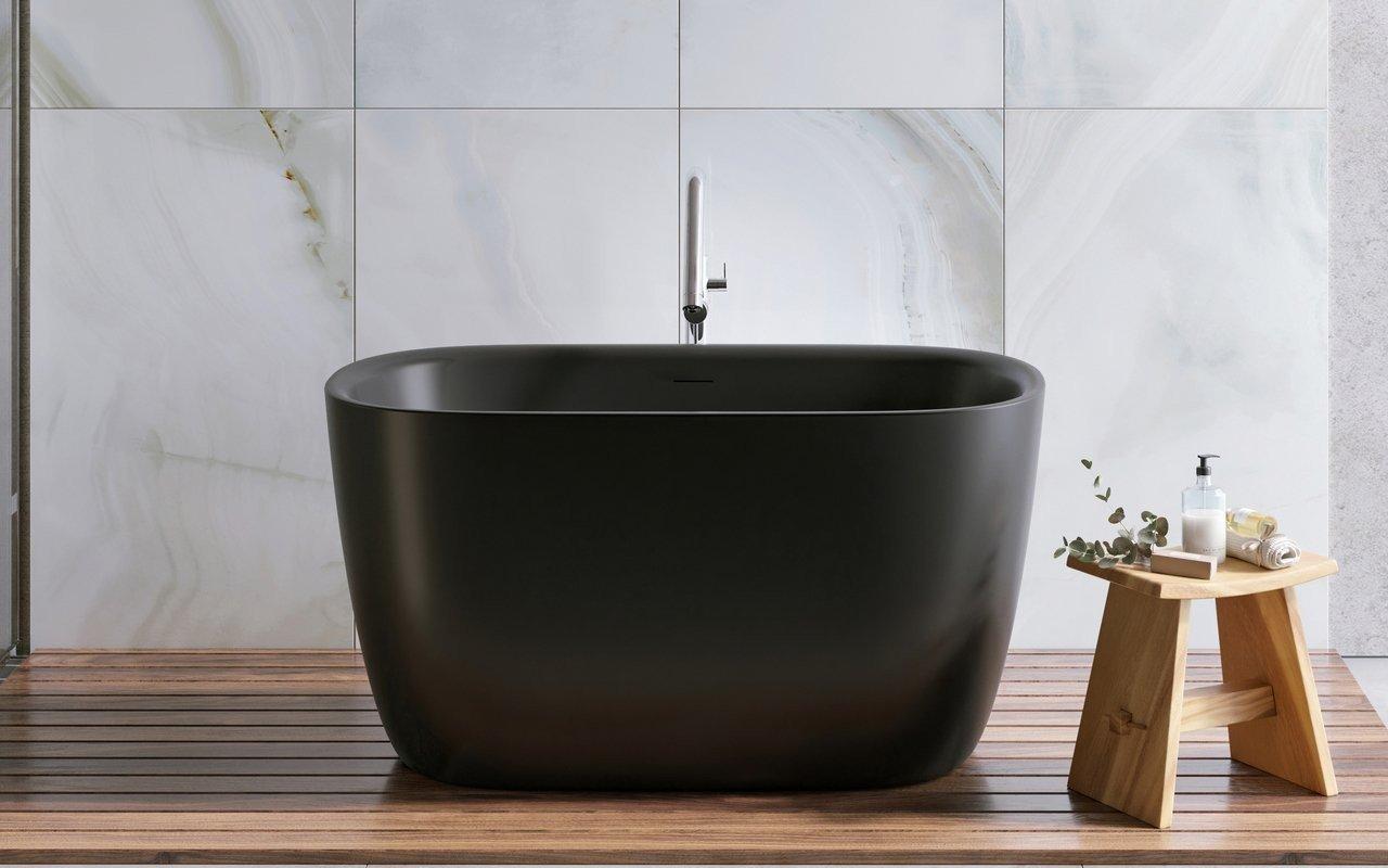 Lullaby 2, la Vasca da Bagno Freestanding di Aquatica in pietra NeroX™ – in Nero picture № 0