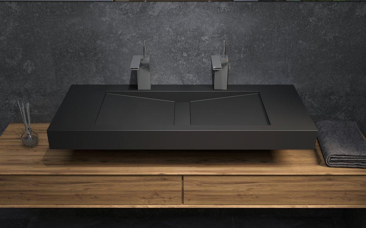 Millennium-120, il Lavabo Freestanding in Solid Surface in Nero di Aquatica picture № 0