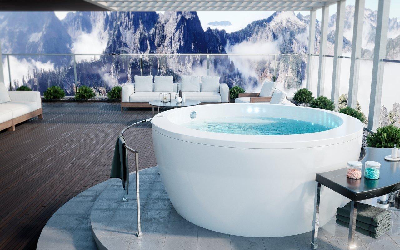 Vasca Da Bagno Freestanding In Acrilico : Pamela wht out vasca da bagno da esterno di aquatica in acrilico
