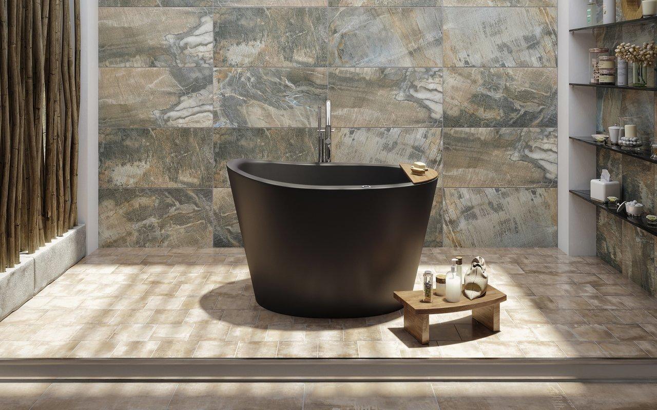 True Ofuro Tranquility, la Vasca da Bagno Giapponese Freestanding con Riscaldamento di Aquatica in pietra NeroX™ – in Nero picture № 0