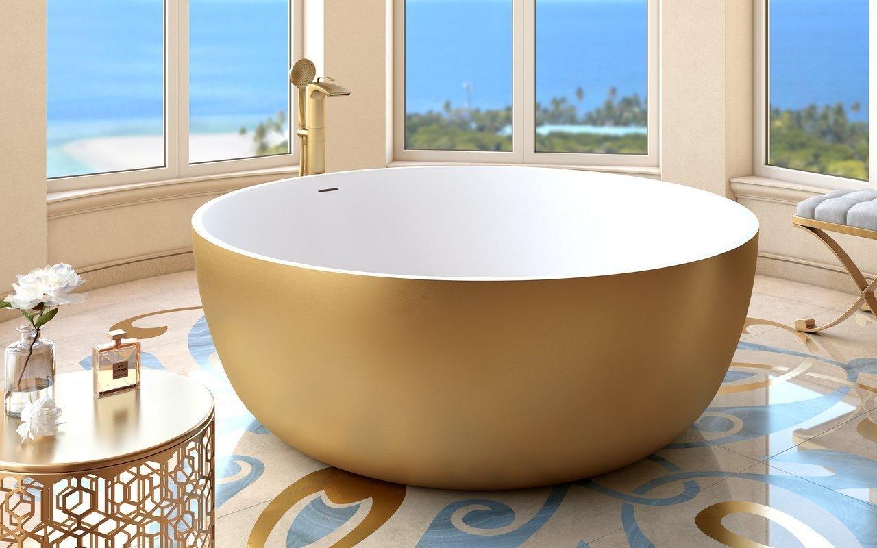 Adelina, la vasca da bagno freestanding di Aquatica in pietra AquateX™ – in Oro Giallo e Bianco picture № 0