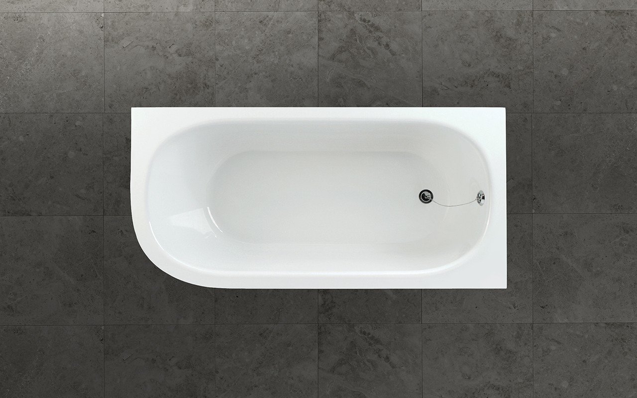 Aquatica inflection b l wht corner stone bathtub top web