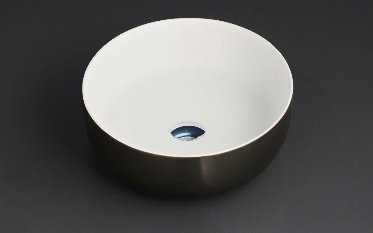 Lavabo Rotonda Aurora-Wht Lucido in Solid Surface e Ferro e Bianco di Aquatica picture № 0