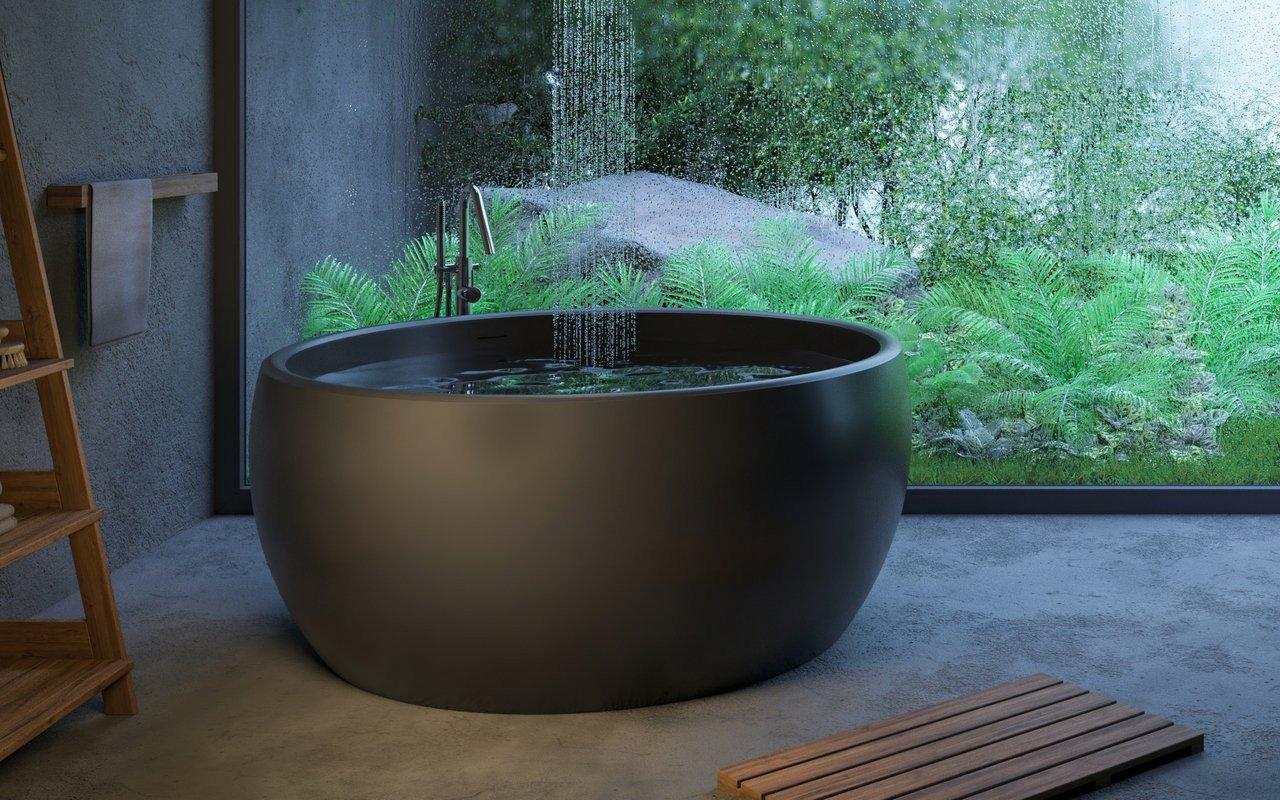 Aura Mini, la vasca da bagno freestanding di Aquatica in pietra NeroX™ – in Nero picture № 0