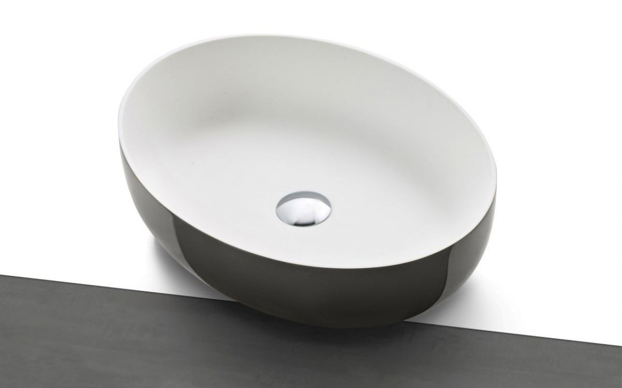 Lavabo Ovale Aurora-Wht Lucido in Solid Surface di Aquatica picture № 0