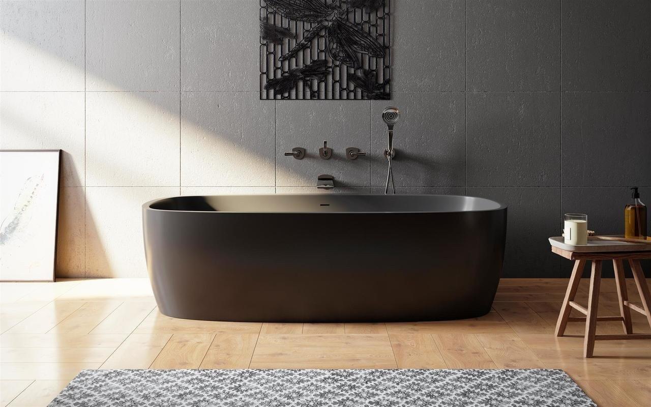 Coletta, la Vasca da Bagno Freestanding di Aquatica in pietra NeroX™ – in Nero picture № 0