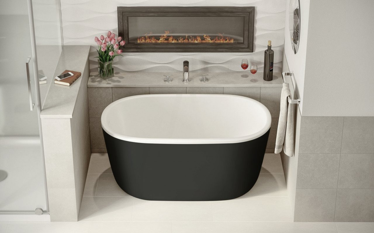 Lullaby Nano Black Wht Small Freestanding Solid Surface Bathtub by Aquatica (2 2) (web)