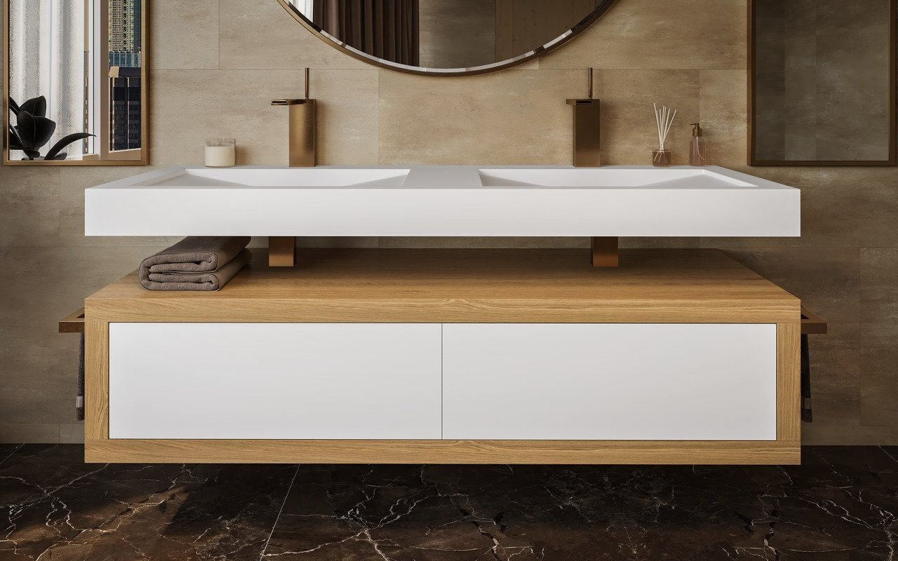 Millennium, Mobile da Bagno in Legno di Quercia in Solid Surface di Aquatica picture № 0