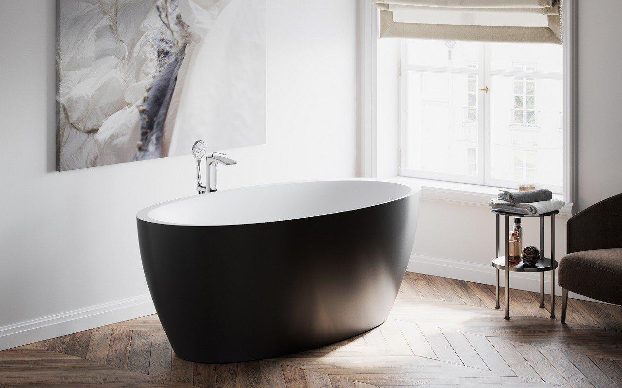 Vasca Da Bagno Freestanding Polaris : Vasca freestanding di aquatica sensuality blck wht™ in solid