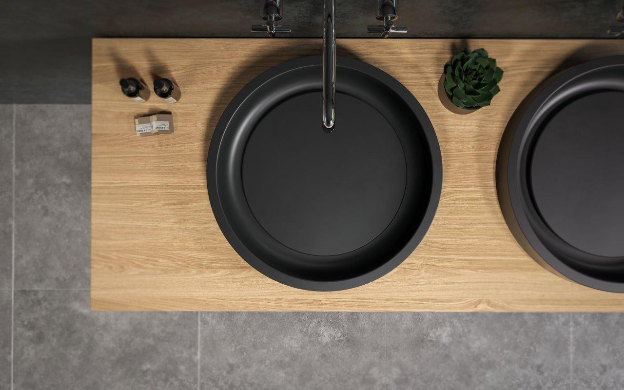 Lavabo Rotondo Solace-A-Plus-Blck in Solid Surface in Nero di Aquatica picture № 0