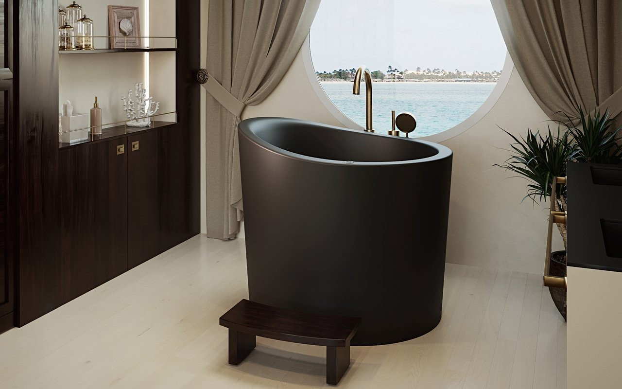 True Ofuro Mini Tranquility, la Vasca da Bagno Giapponese Freestanding con Riscaldamento di Aquatica in pietra NeroX™ – in Nero picture № 0