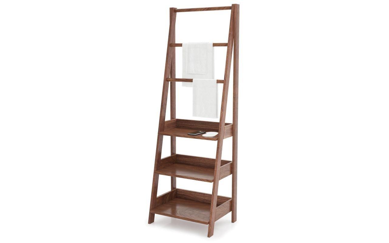 Universal Waterproof Bathroom Ladder Shelf American Walnut03web