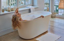Tulip Wht Freestanding Slipper Solid Surface Bathtub by Aquatica web 0382