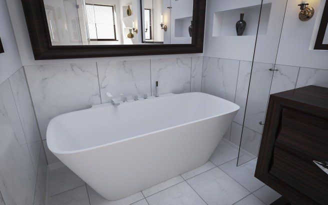 Arabella Wall Stone Bathtub 3D 3
