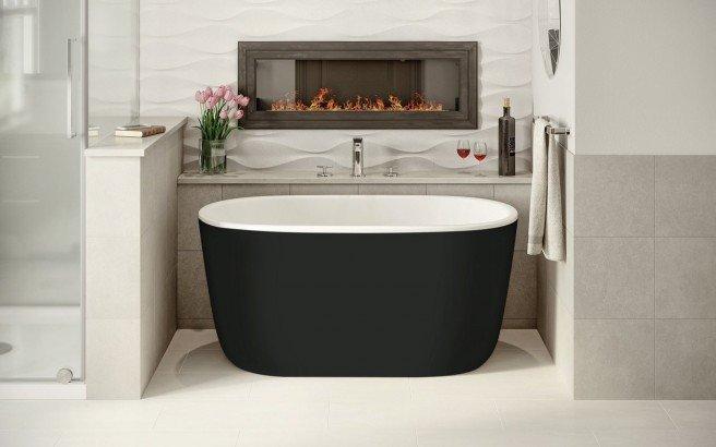 Lullaby Nano Black Wht Small Freestanding Solid Surface Bathtub by Aquatica (1 2) (web)
