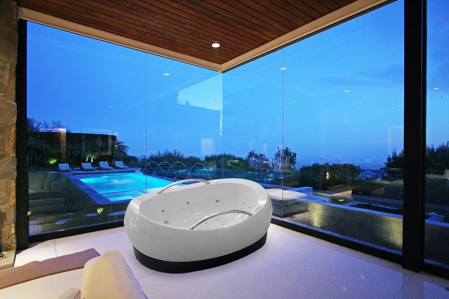 Admireme relax la vasca da bagno freestanding aquatica in misto acrilico composto - Come lucidare una vasca da bagno opaca ...