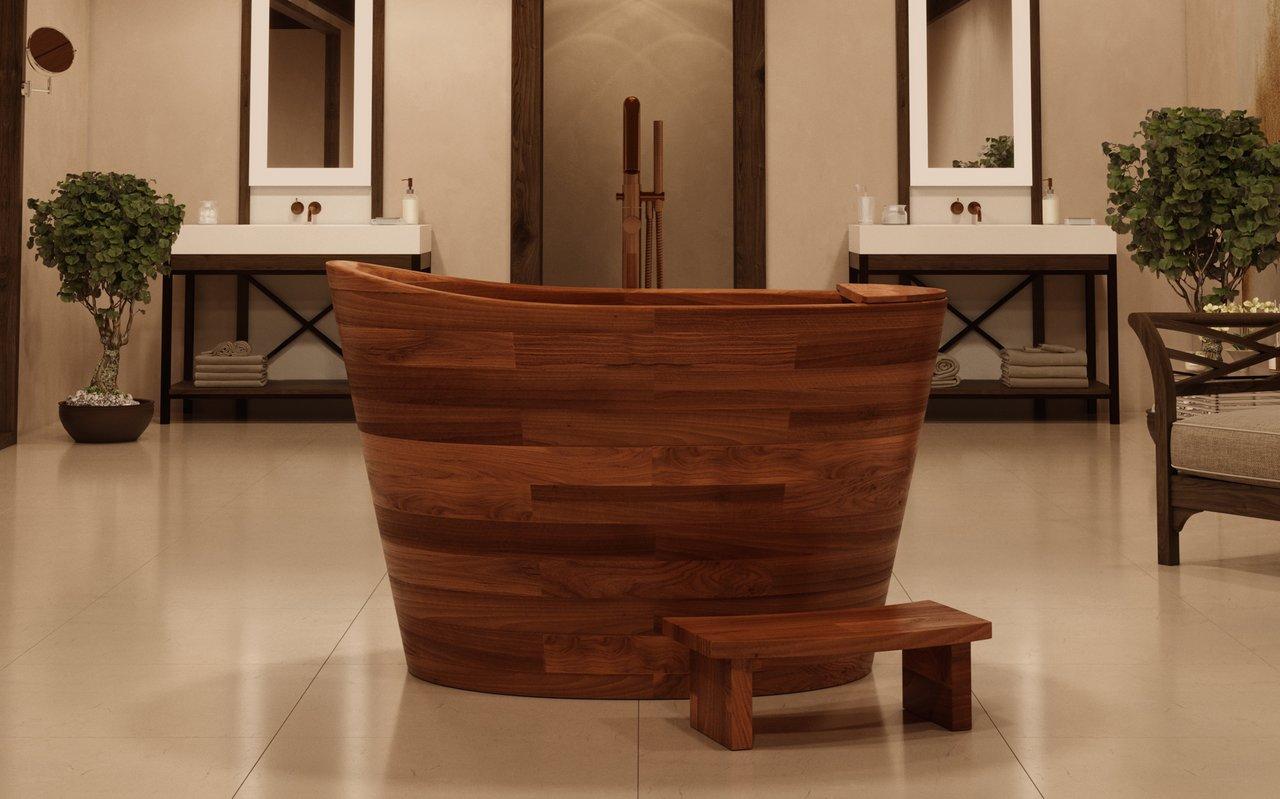 Vasca Da Bagno Ofuro : True ofuro di aquatica vasca giapponese freestanding in legno