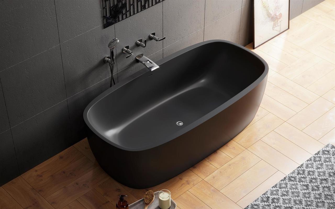 Coletta blck la vasca da bagno freestanding grafite nera in pietra aquatex - Vasca da bagno nera ...