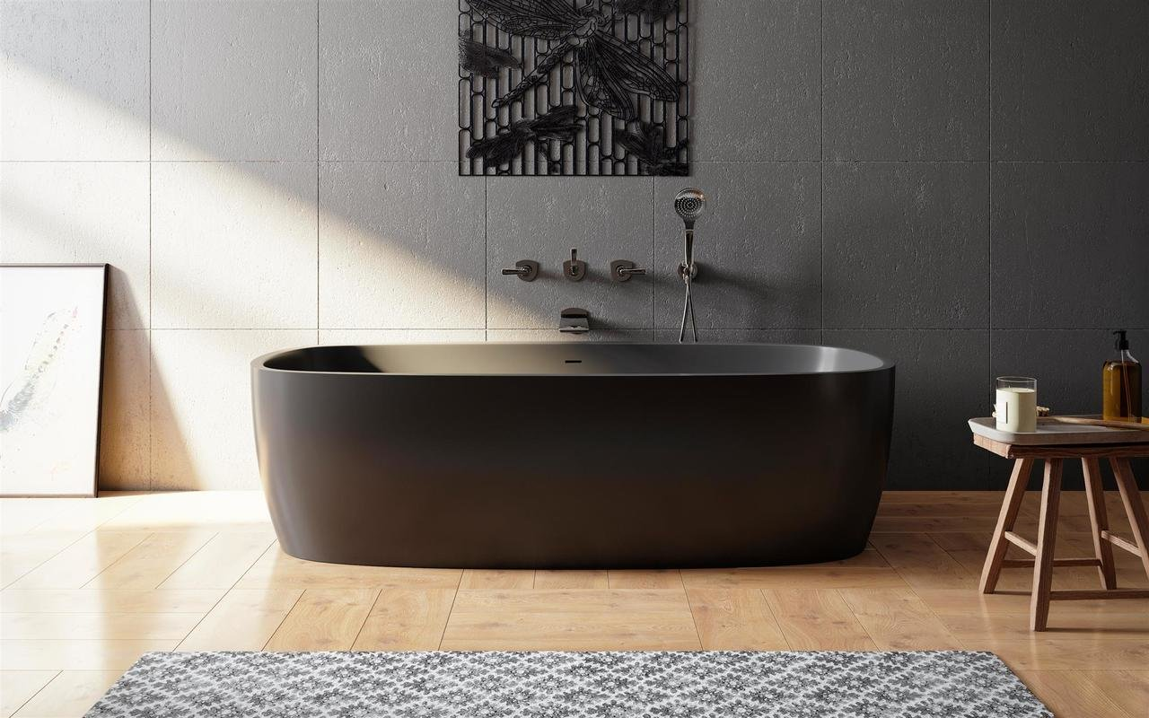 Vasca Da Bagno Stretta : Coletta blck la vasca da bagno freestanding grafite nera in pietra