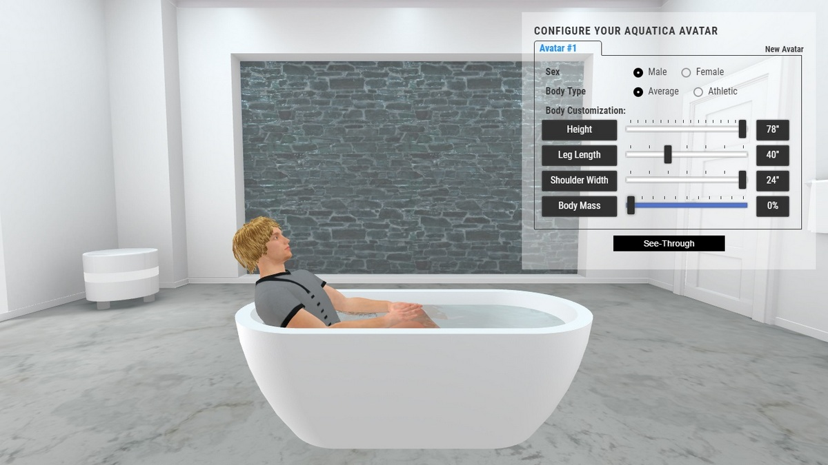 Gloria Bathtub 3D Body Position