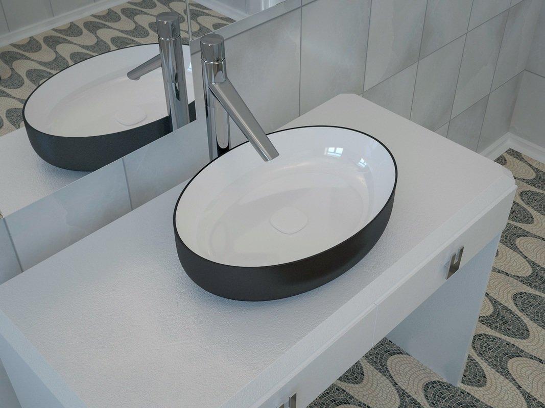 Lavandini Da Bagno Moderni : Lavandino da bagno ovale metamorfosi di aquatica in ceramica nera