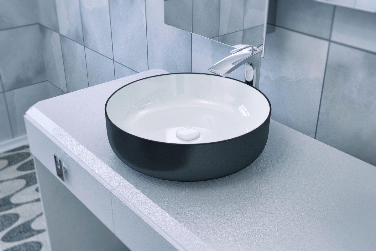 Lavandino da bagno rotondo metamorfosi di aquatica in ceramica