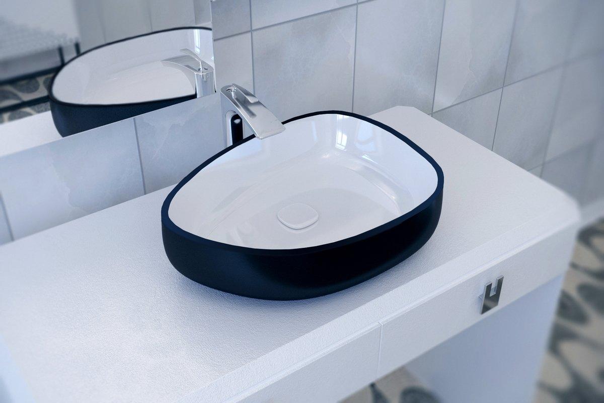 Lavandino da bagno unico metamorfosi di aquatica in ceramica nera
