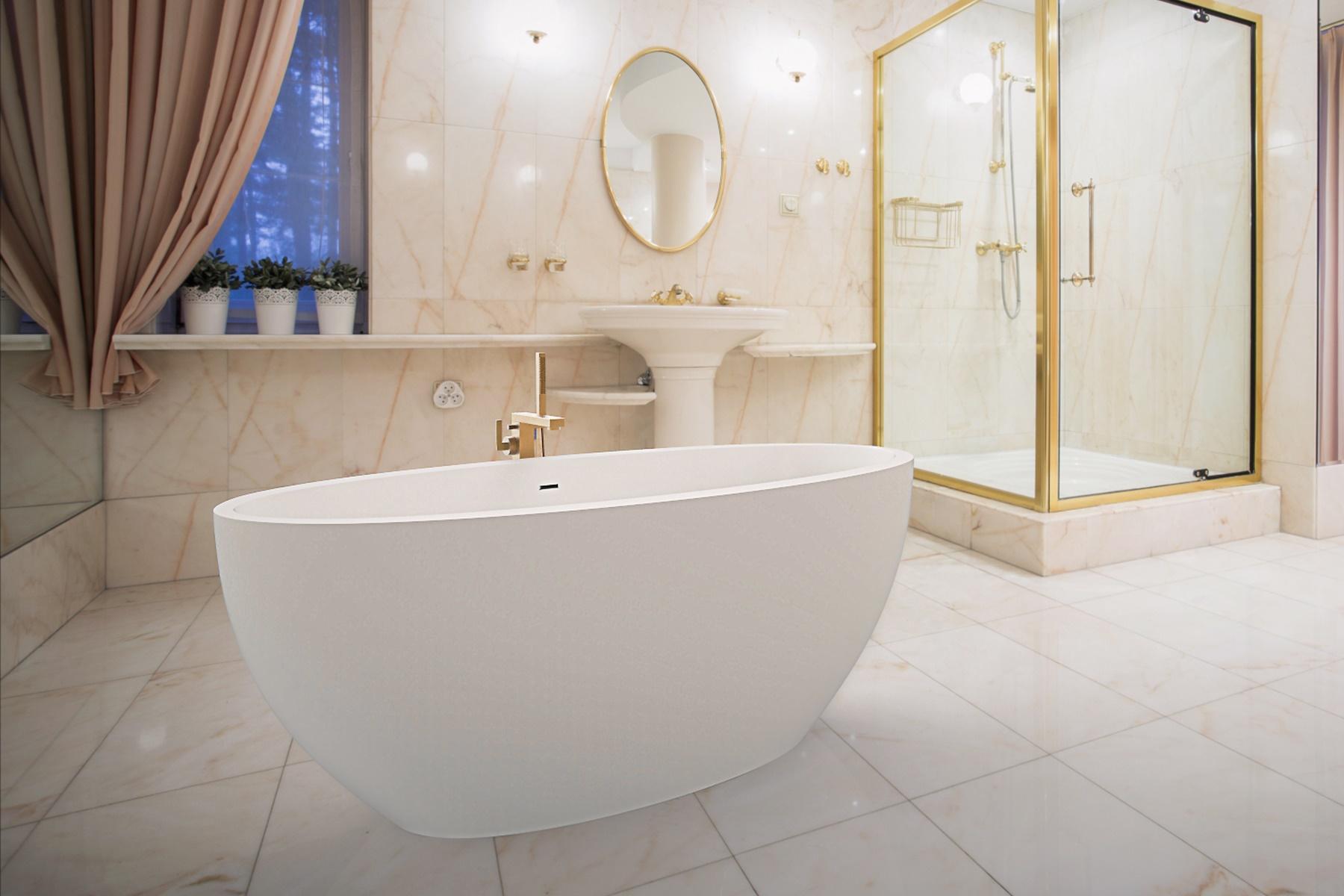 Sensuality Mini-F-Wht, la vasca da bagno freestanding Aquatica in pietra AquateX