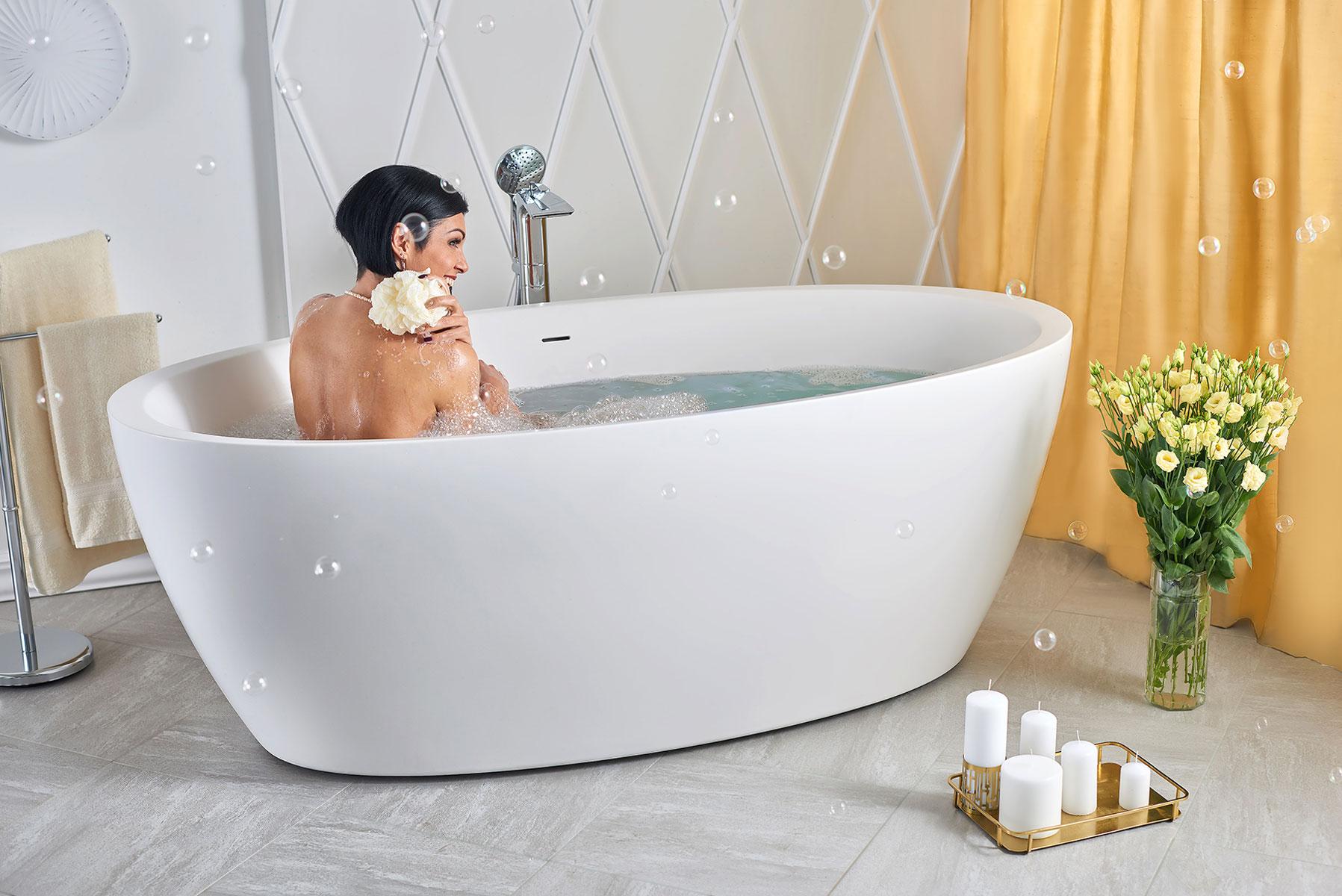 Vasca Da Appoggio : Vasca freestanding di aquatica sensuality wht™ in solid surface